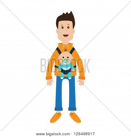 Funny cartoon guy Cute male character holding boy son in baby carrier sling. Father parent take care of child. Casual dress style Surprise emotion. White background. Flat design Vector illustration