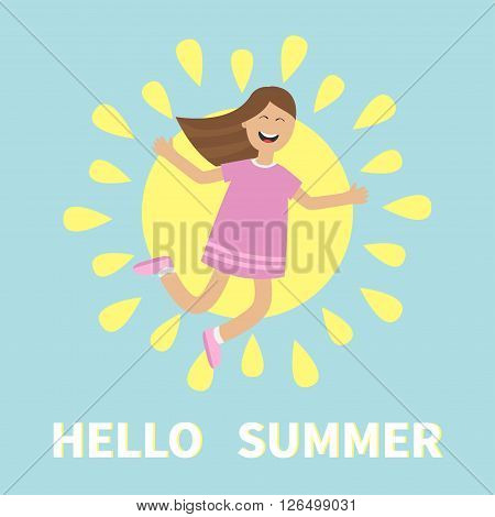 Hello summer greeting card. Girl jumping. Sun shining icon. Summer time. Happy child jump. Cute cartoon laughing character in violet dress. Smiling woman. Blue background Flat Vector illustration