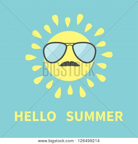 Sun shining icon. Sun face with sunglassess and mustaches. Cute cartoon funny smiling character moustaches. Hello summer. Blue background. Isolated. Flat design Vector illustration