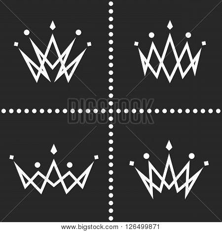 Set crowns logo monogram silhouette thin line graphic geometric shape decoration collection princess tiara icon