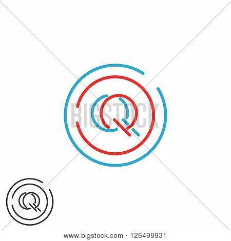 Letters Initials Qq Logo Monogram, Combination Two Letters Q Q Circle Frame, Mockup Business Card Em