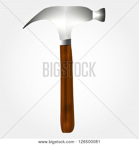 Vector illustration of the hammer. Realistic instrument.