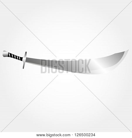 Illustration of pirate sword. Metallic realistic instrument.