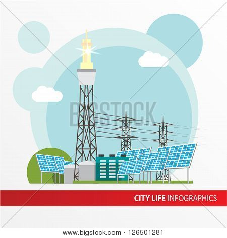 Concentrated solar power station. Colorful illustration in a flat style. City infographics set. All types of power stations. System with Concentrator photovoltaics,  electrical power generator and Solar power tower