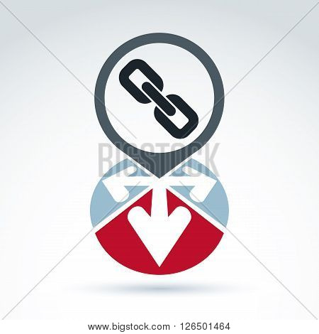 Conceptual connection icon with arrows isolated on white background. Vector speech bubble sign with a link symbol.