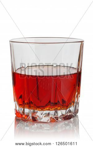 glass of brandy on a white background