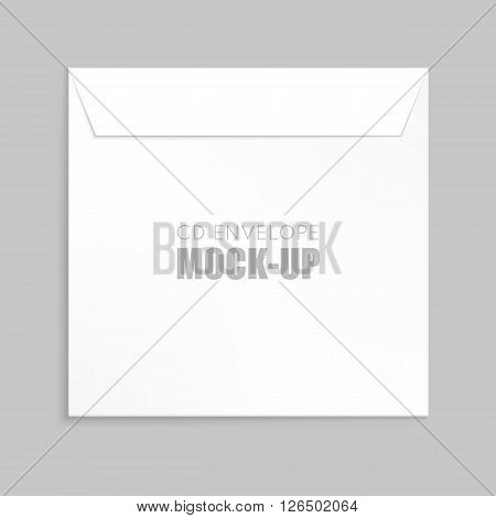White  cover for compact disc mock up template. White envelope vector illustration