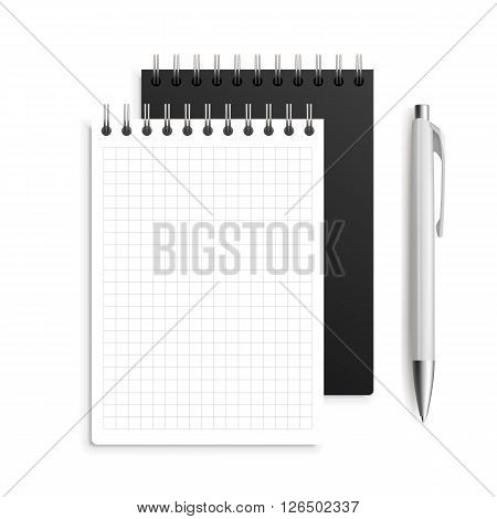 Two spiral notebook and white ballpoint Pen, 3d. Realistic vector illustration