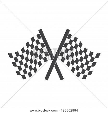 Two Cross Checkered Flags for start and finish racing flags.
