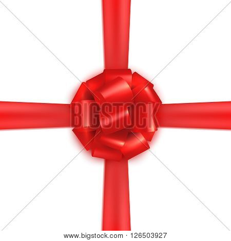 Red realistic gift wrapping silk. Design template.