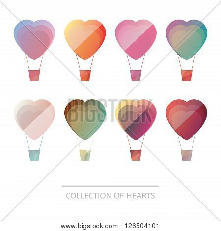 Premium colorful set of geometric balloons hearts. Icons in low poly style. Abstract shapes for business visual identity - triangle polygons and rectangular designs. Collection for Valentine's Day.