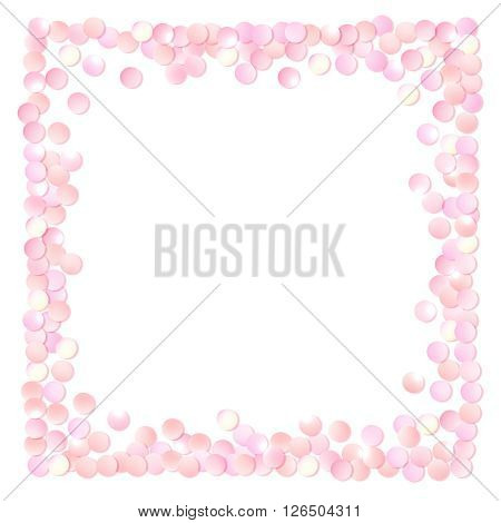 Pink realistic square confetti frame, design template for gift, certificate, voucher, AD brochure and so. Colorful vector illustration isolated on white.