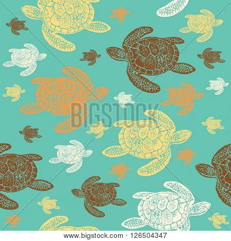 Sea Turtles colourful seamless vector pattern. Realistic engraved style of Sea Turtles on blue background.