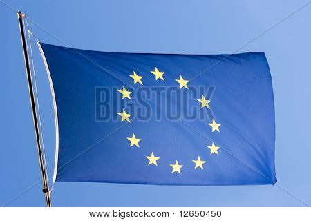 European flag on a blue sky close-up