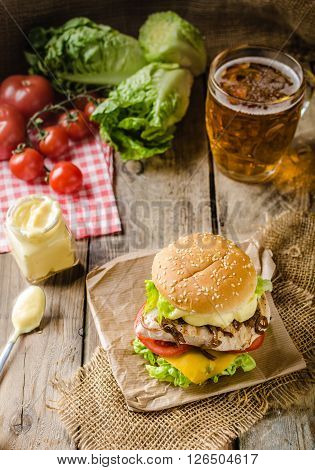 Chicken Burger, Cold Beer
