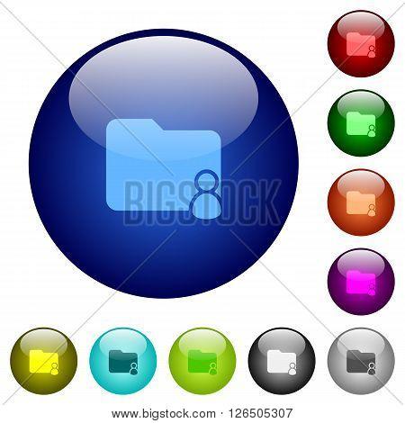 Set of color folder owner glass web buttons.