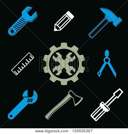 Work tools collection vector repair instruments for carpentry and manufacturing. Set of high quality elements for use in graphic design.