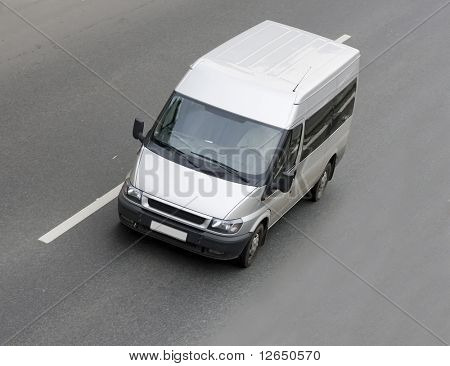 white gray blank Shuttle Bus