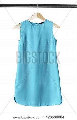 Blue basics mini dress on clothes rack isolated over white