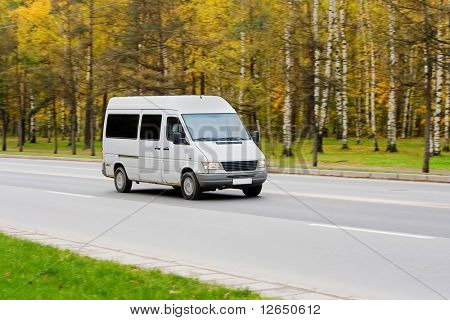 white blank shuttle bus van
