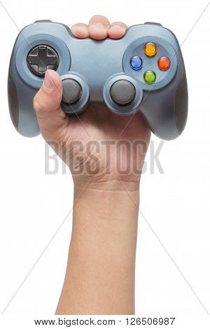 Hand holding video game controller isolated on white background