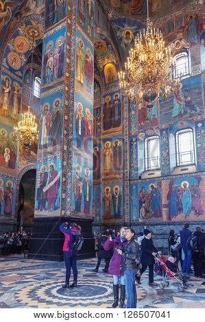 ST. PETERSBURG, RUSSIA -APRIL 15, 2016: Interior of the Church of Saviour on Spilled Blood.   Church was built on the site where Emperor Alexander II was fatally wounded in March 1881