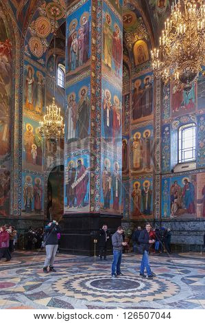 ST. PETERSBURG, RUSSIA -APRIL 15, 2016: Interior of Church of the Saviour on Spilled Blood.   Church was built on the site where Emperor Alexander II was fatally wounded in March 1881