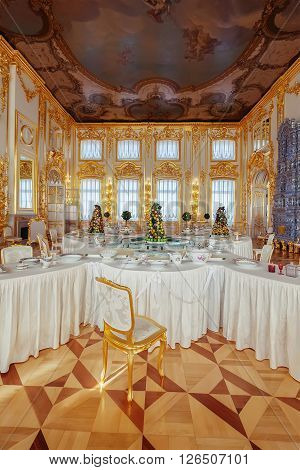 ST. PETERSBURG, RUSSIA - MARCH 17, 2016: The interior of the Catherine Palace in Tsarskoye Selo. It was the summer residence of the Russian tsars, now it is a famous museum