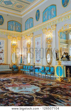 ST. PETERSBURG, RUSSIA - MARCH 17, 2016: Interior of the Catherine Palace in Tsarskoye Selo (Pushkin). It was the summer residence of the Russian tsars, now it is a famous museum