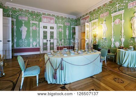 SAINT PETERSBURG, RUSSIA - MARCH 17, 2016: Interior of the Catherine Palace in Tsarskoye Selo (Pushkin). It was summer residence of the Russian tsars, now it is a museum