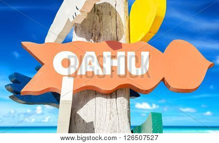 Oahu signpost with beach background