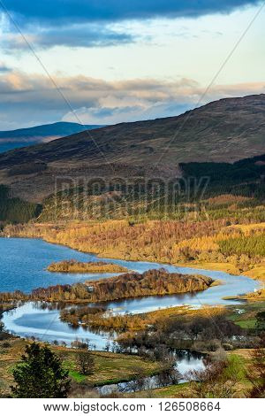 Loch Tay with confluence of the river Dochart near Killin in spring