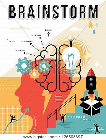 Modern Brainstorming Process Flat Line Concept Art Design