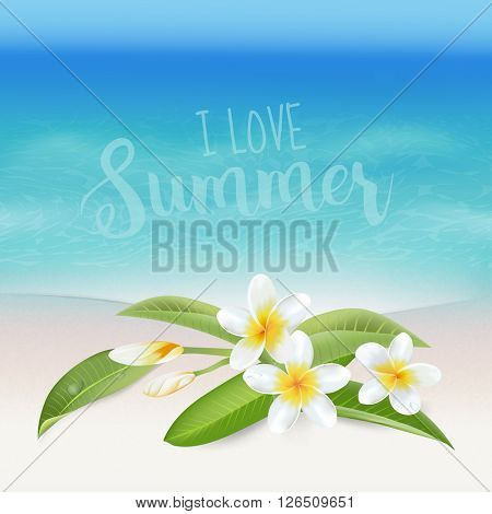 Realistic Sea Background. Tropical Flower. Beach Background. Card for Text. Vector