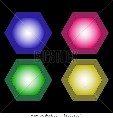 The vector image of four colorful lanterns. Green, dark blue, yellow, crimson.