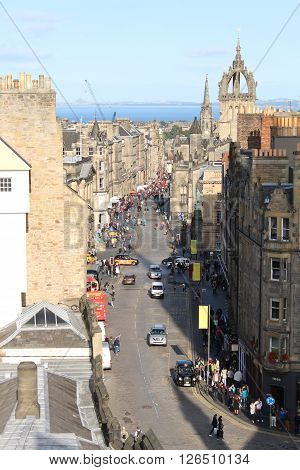 View down Edinburgh's historic Royal Mile from the Castle