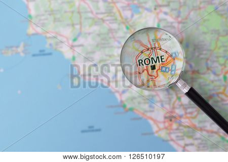 Consultation With Magnifying Glass Map Of Rome