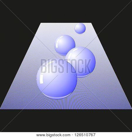 Vector image of four glossy ball. Glossy balls neon lighting on a black background.