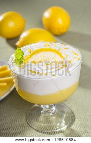 Dessert Dish with Lemon Mousse and Lemons