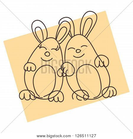 The image of two animals. The in love couple. Two happy, amicable and cheerful rabbits.