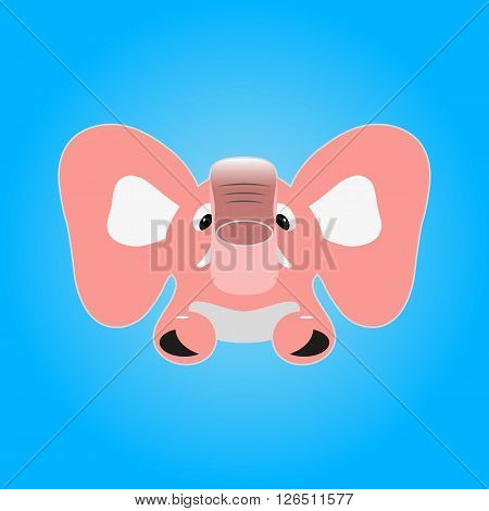 Vector image of a pink elephant on a blue background.