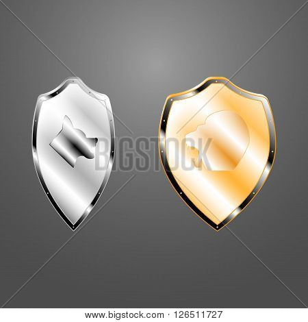 Vector picture of two boards. One silver shield symbol of the wolf, the other shield symbol of the golden lion.