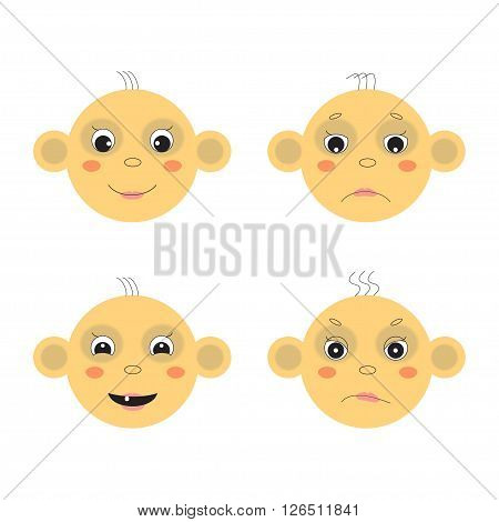 Vector baby face image. Emotions, joy, sadness, dissatisfaction, smile.