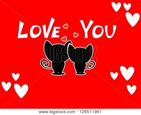 Cute cartoon animals couple fall in love,  illustration.