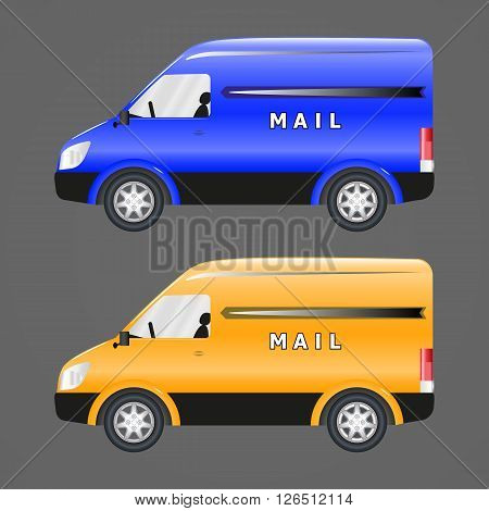 Vector image of postal vehicles. Blue and yellow post car.