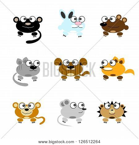 Vector image of cartoon funny animals. Panther, rabbit, bear, cat, dog, monkey, fox, mouse, hedgehog.