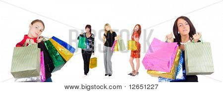 """two women shopping and three other at the background concept - See similar images of this """"Gorgeous business women"""" series in my portfolio"""