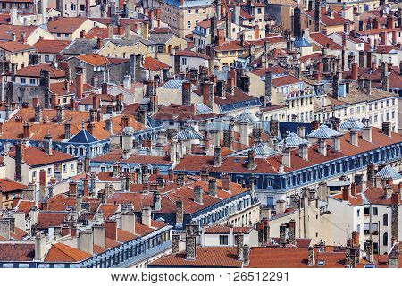 Roofs of Old Town in Lyon. Lyon Rhone-Alpes France.