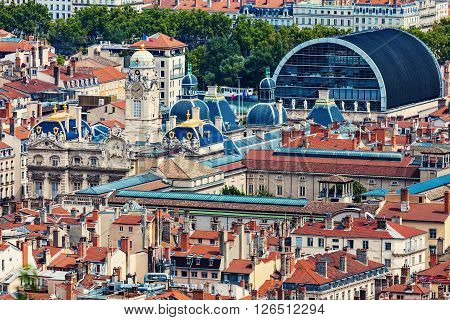 Aerial panorama of Lyon with city hall. Lyon Rhone-Alpes France.