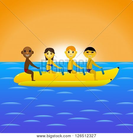 Vector image of people having a rest on a banana. Leisure at sea. People ride on a banana.